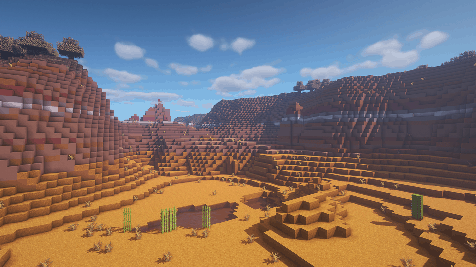Biome Mesa avec BSL Shaders