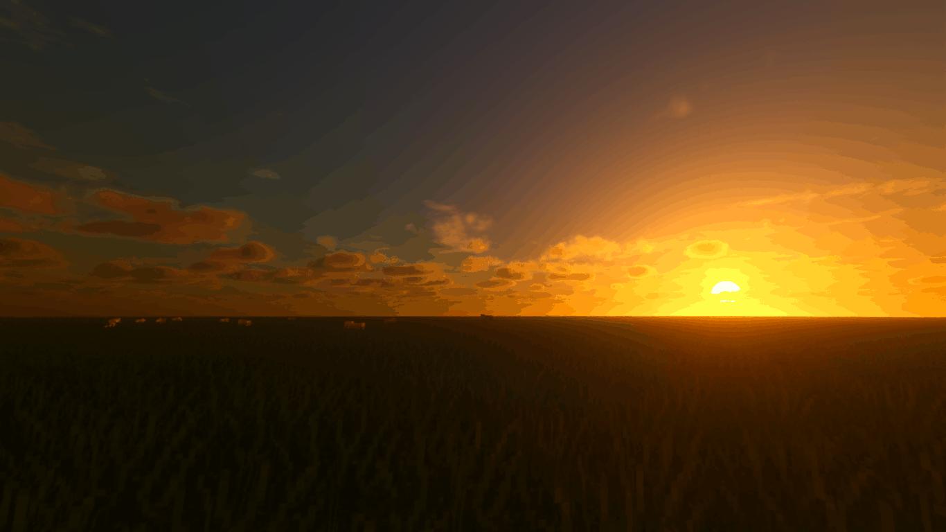 Voyager Shader : Un levée de soleil dans une plaine Minecraft