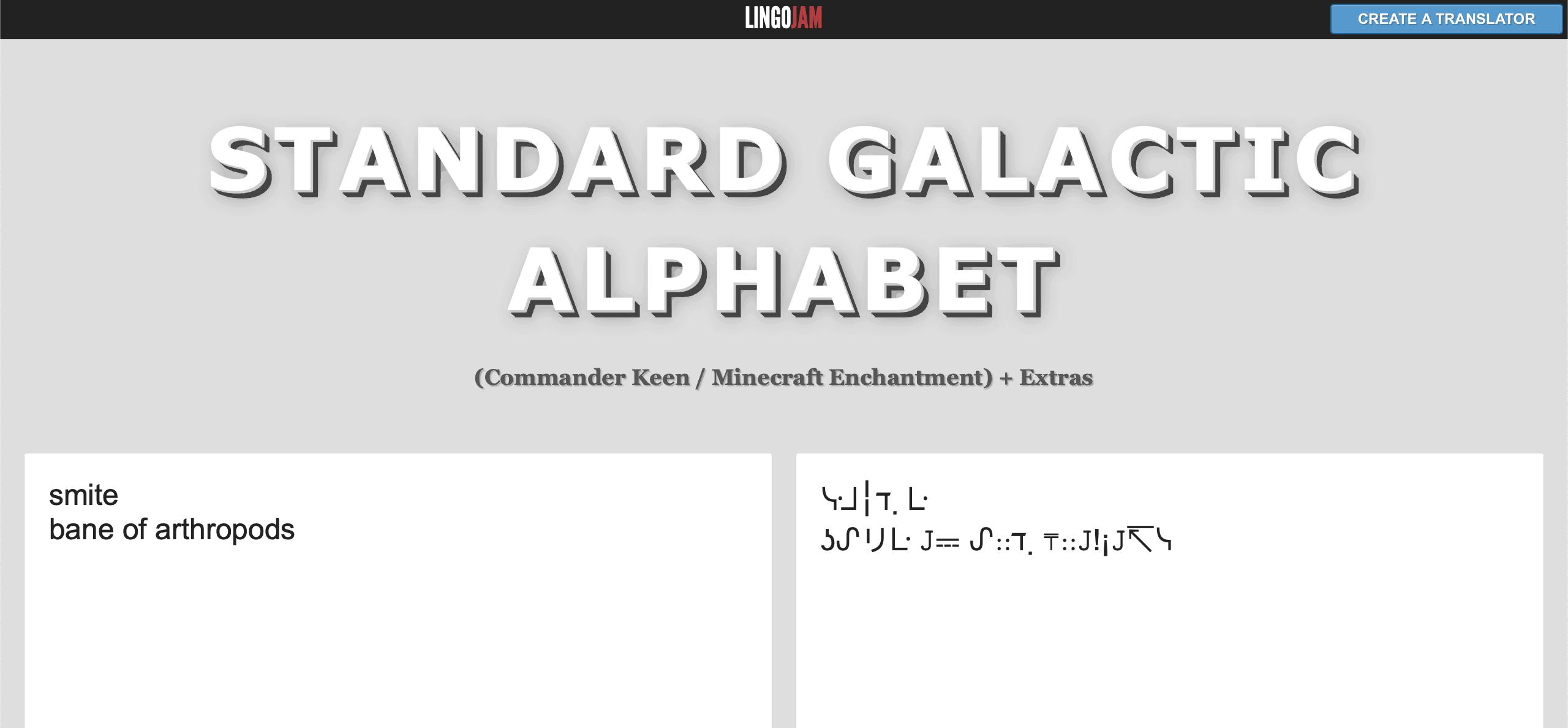 Traducteur automatique du Standard Galactic Alphabet