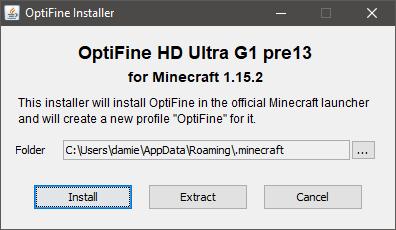 Installation d'Optifine 1.15