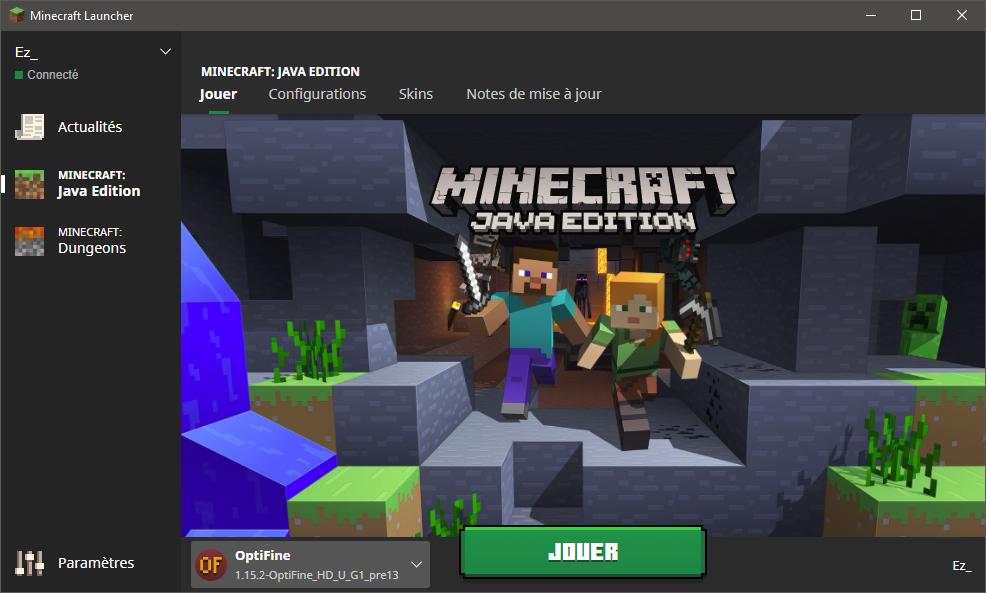 Sélection du profil Optifine sur le launcher de Minecraft