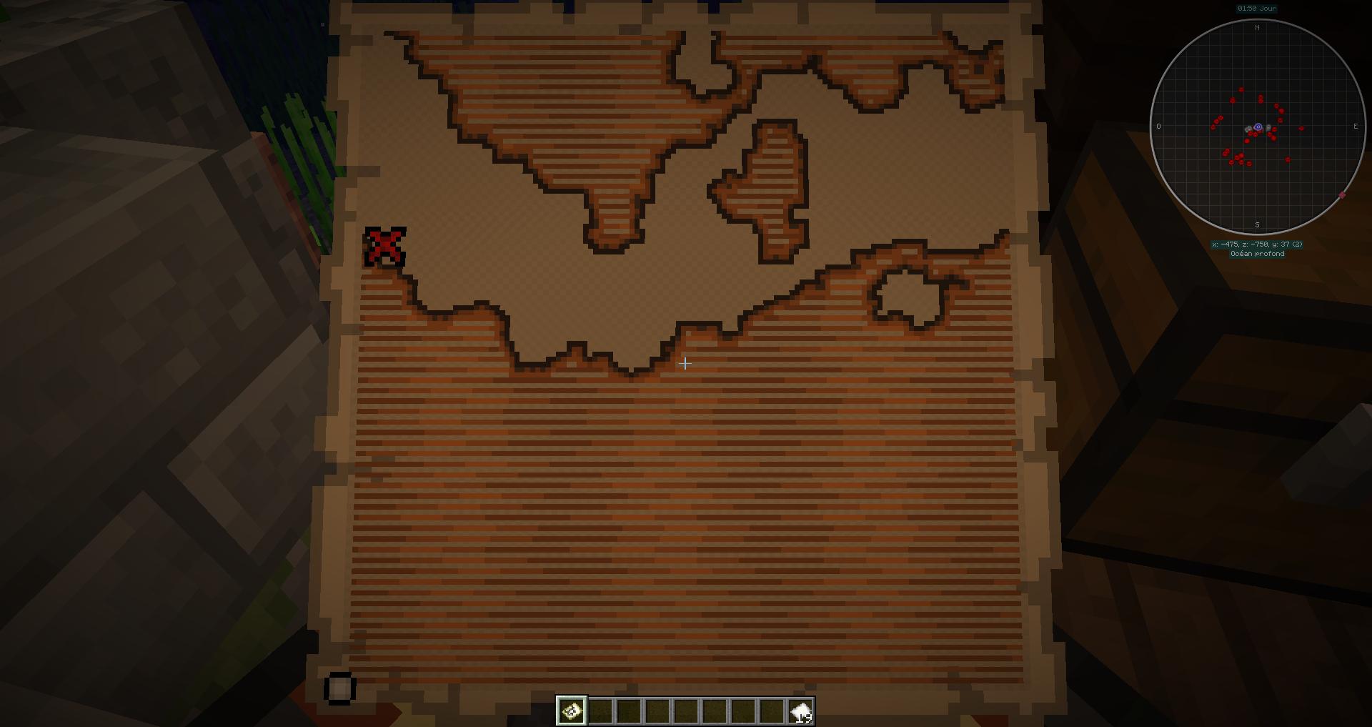 Emplacement du trésor sur la carte