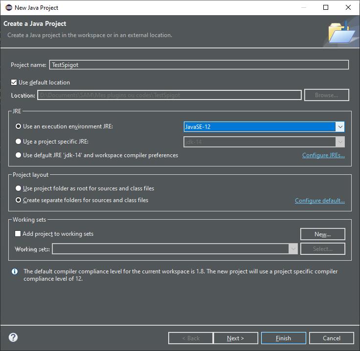 Création d'un nouveau projet avec IDE Eclipse