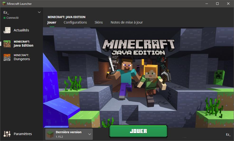 Comment installer un resource pack : Lancez le launcher Minecraft