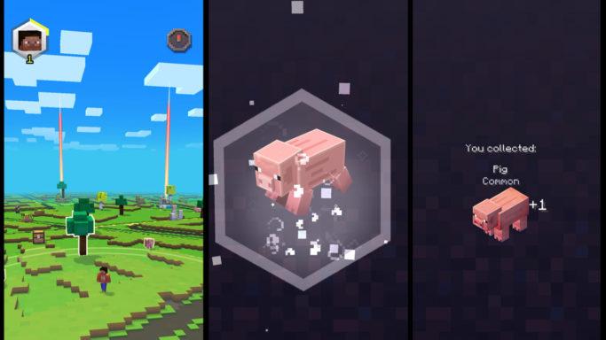 Collecte d'un cochon dans Minecraft Earth