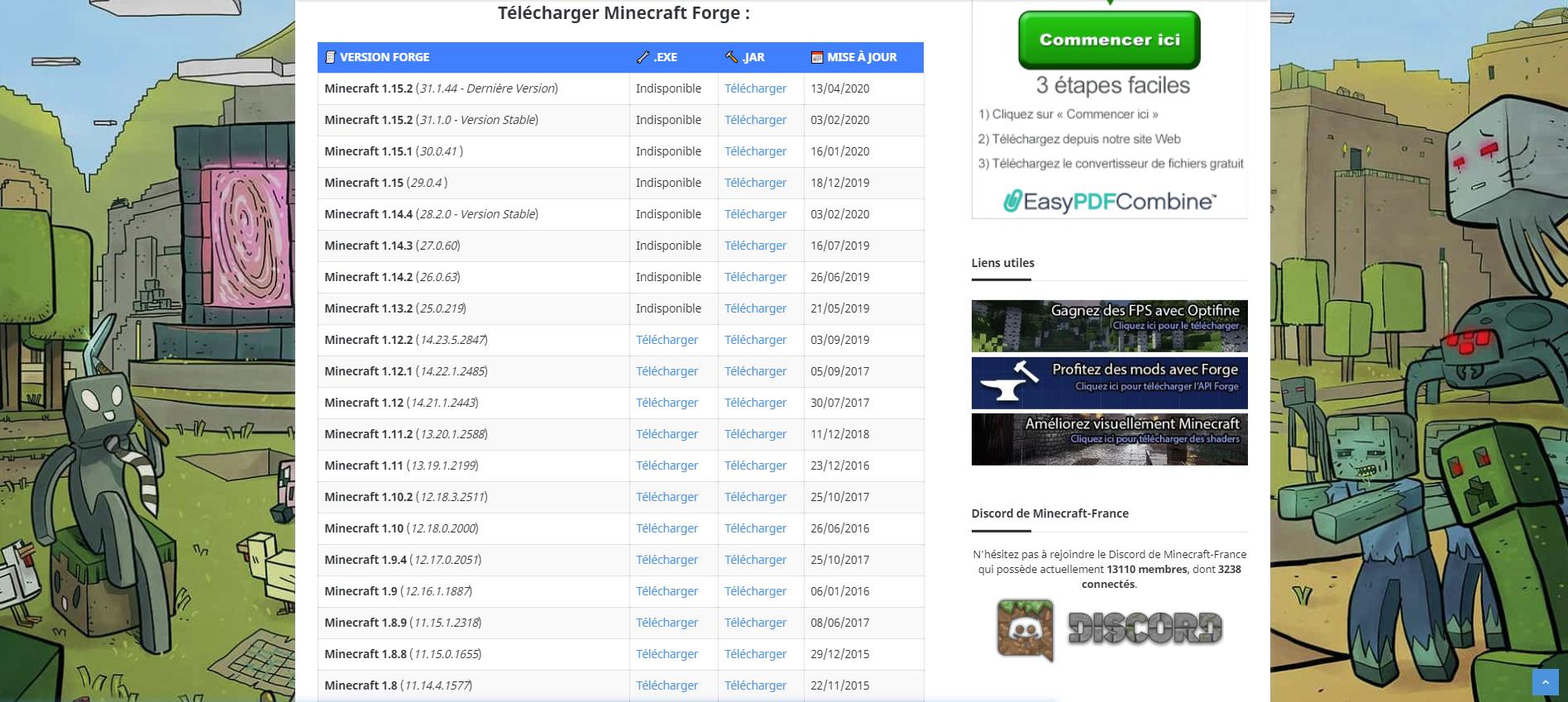 Téléchargement d'une API Minecraft