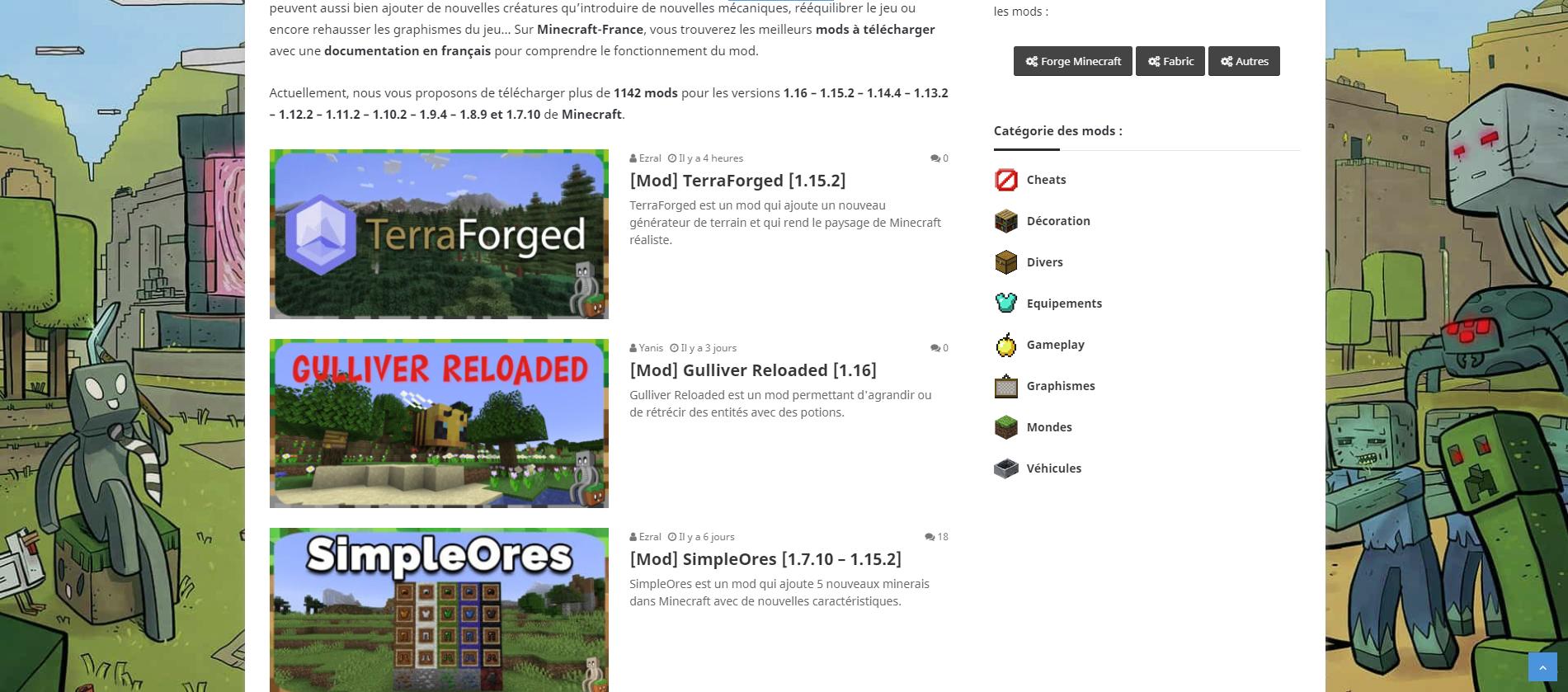 Téléchargement de mods Minecraft