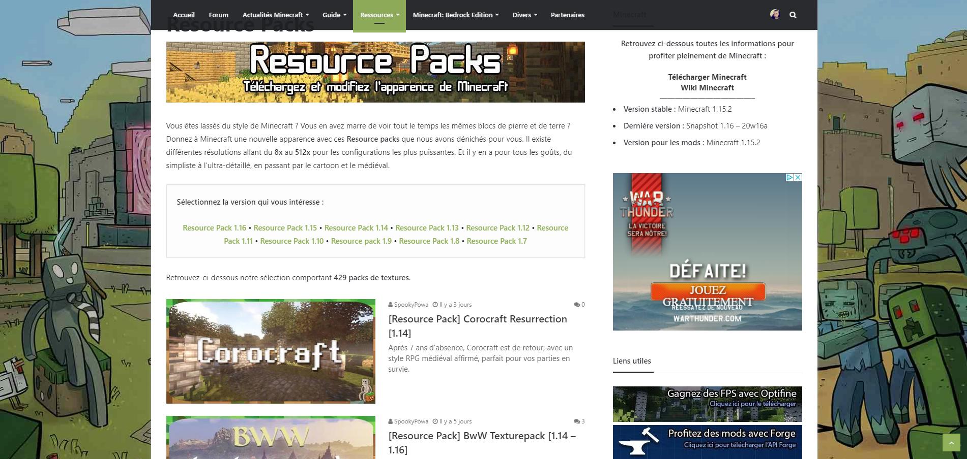 Comment installer un resource pack : Téléchargez un Resource Pack sur Minecraft-France
