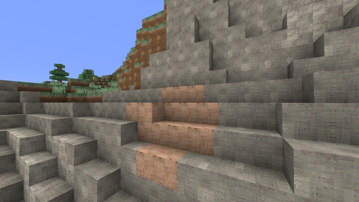 Une montagne avec les blocs en pierre