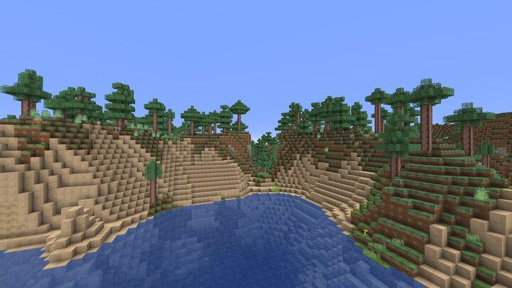 Un lac dans le paysage de Minecraft