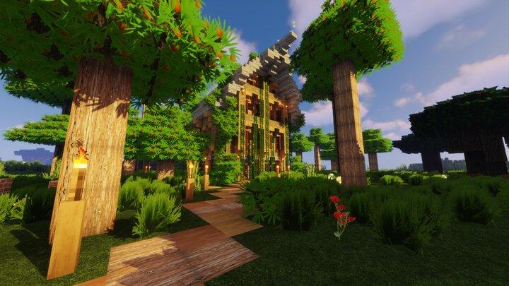 Resource Pack - Pandonis Realistics : Construction d'une maison par un joueur Minecraft