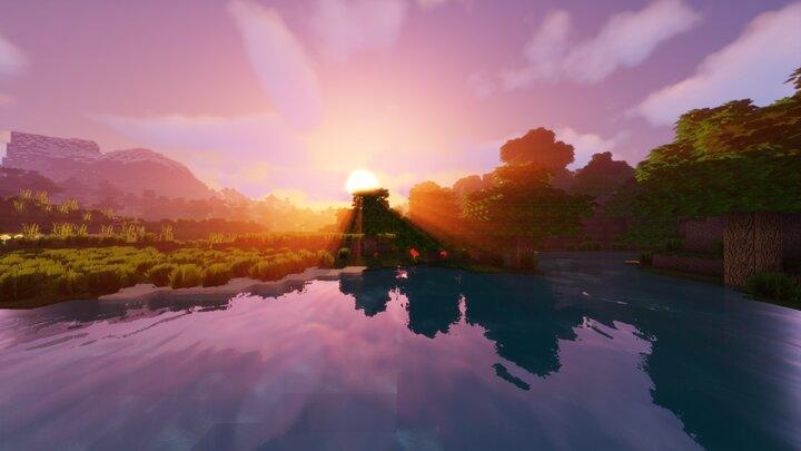 Resource Pack - Pandonis Realistics : Un lever de soleil avec une vue sur l'eau