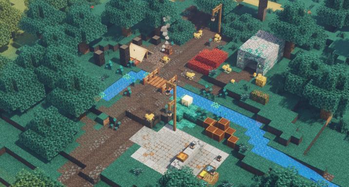 JavaDunegons : Une rivière traverse un campement