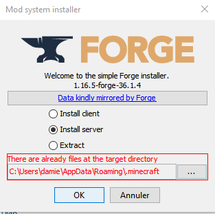 Installation de Forge Minecraft